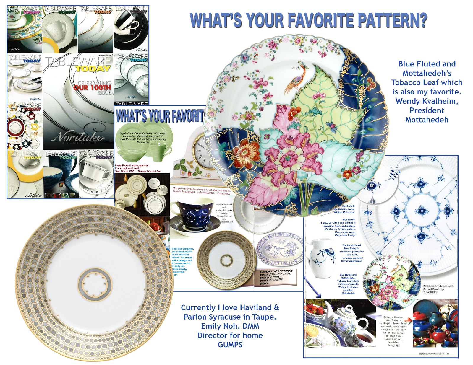 Traditional China Patterns tableware today: favorite patterns | mottahedeh, milestone, and r
