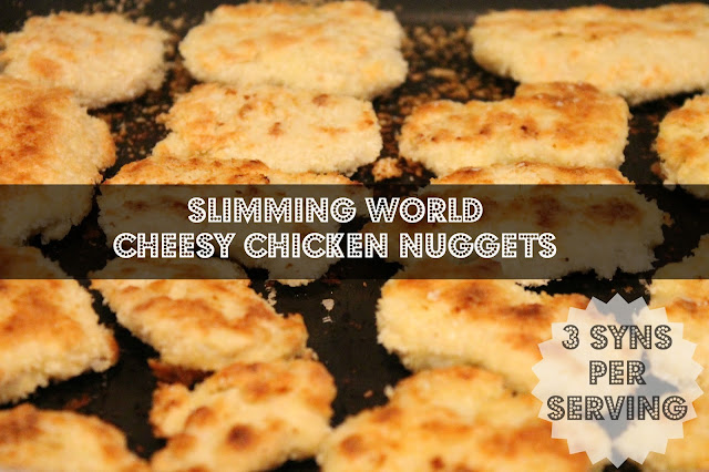 Cheesy chicken nuggets on tray with text over Slimming World Cheesy Chicken Nugget Recipe 3 syns per serving