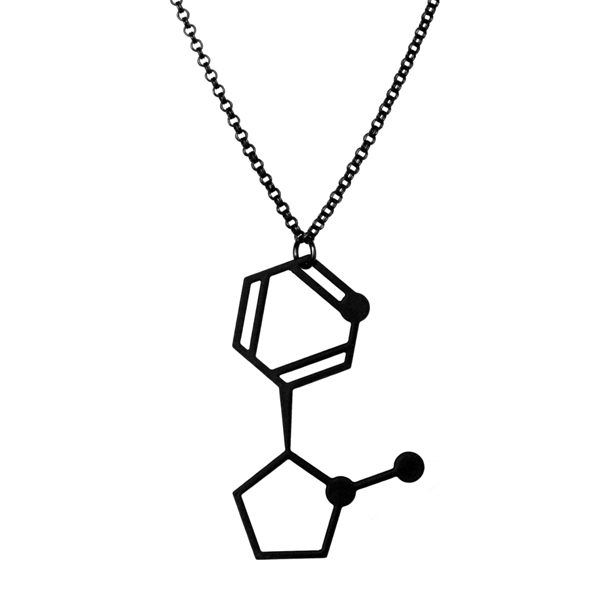 Aroha Silhouettes, Molecular Addictions, necklace, molecule, nicotine, tobacco, cigarettes, necklace, black, silhouette