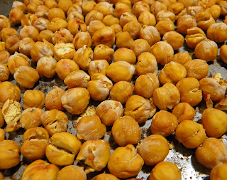 Browned Chickpeas on Baking Sheet