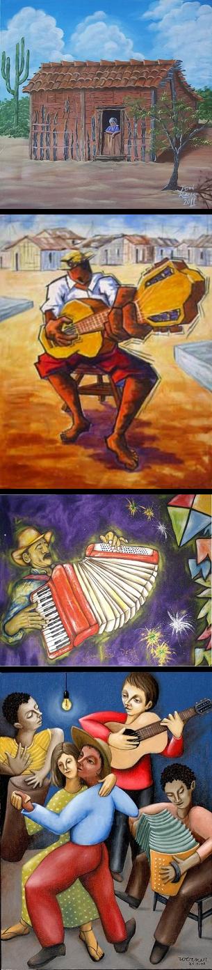 Pinturas - Casa de Taipa, Repentista, Sanfoneiro e Forró