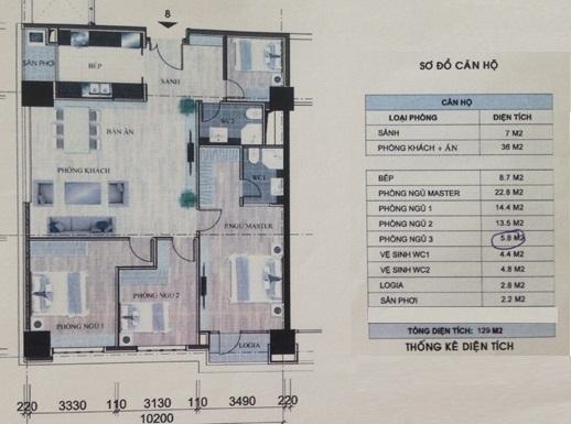 Thiết kế chi tiết căn hộ số 3 tòa nhà N01-T2 chung cư Ngoại Giao Đoàn, Tây Hồ, HN