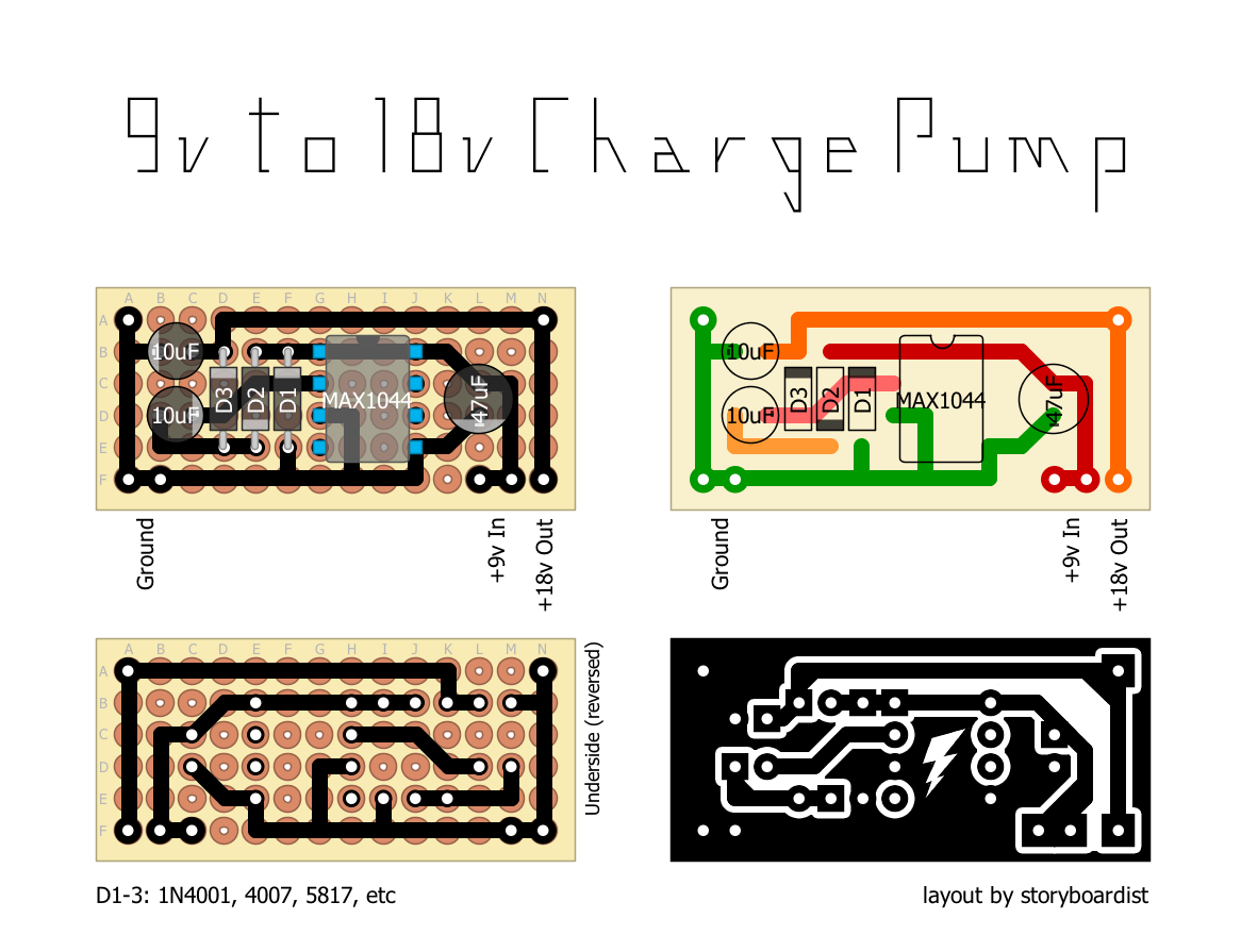 Perf And Pcb Effects Layouts 9v To 18v Charge Pump Power Supply Circuit You Could Build It Into A 1590a Have An Almost 18 Volt Or Pedal With Switch Toggle Between