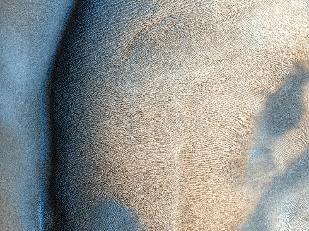 Сухой лёд на поверхности марсианской дюны