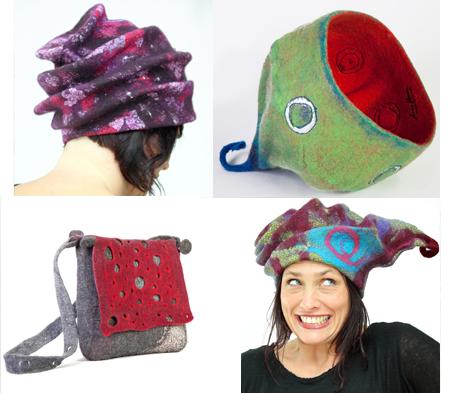 stage feutre en volume - sac chapeaux sculptures