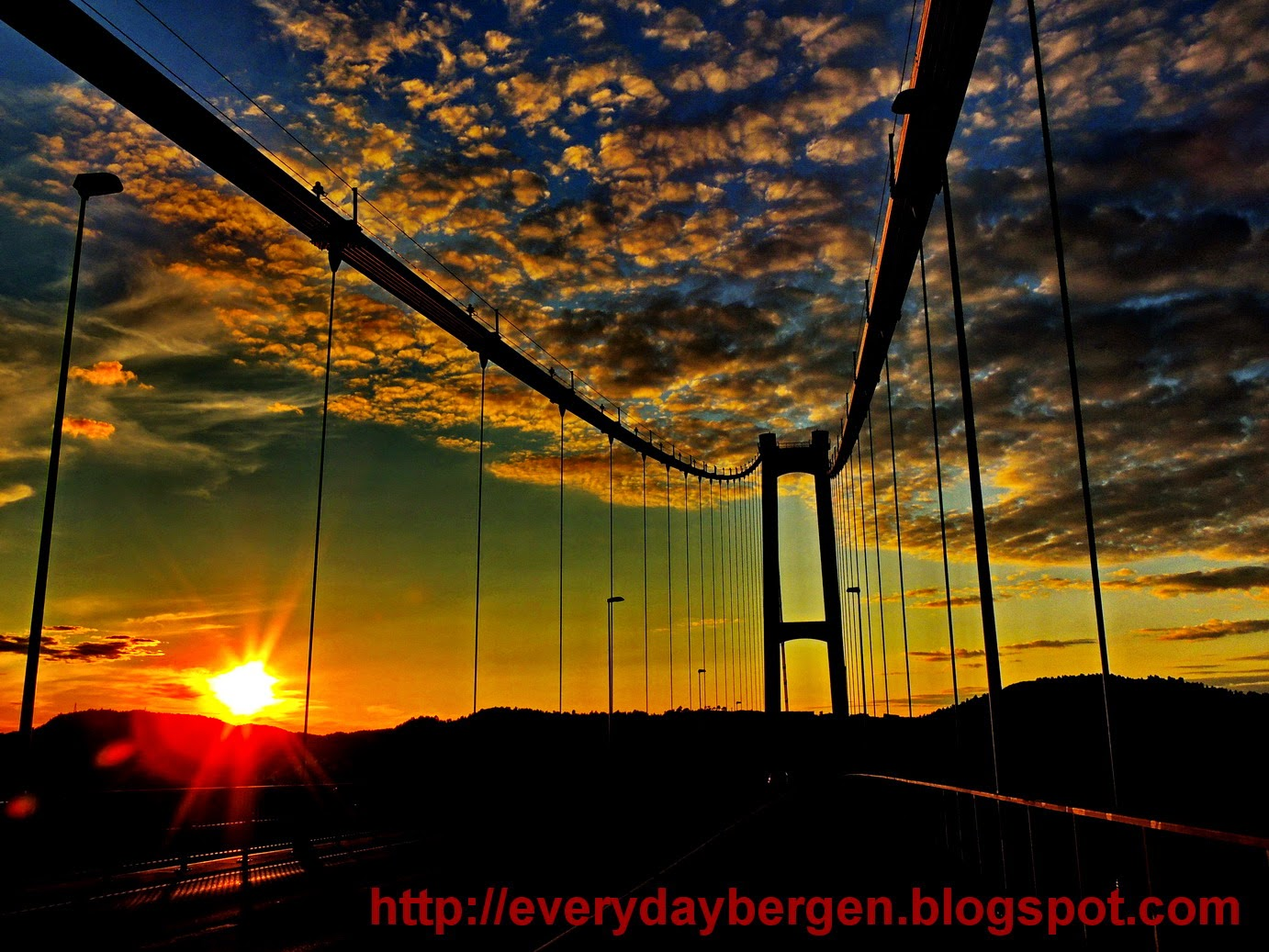 Sunset on Askøy bridge.