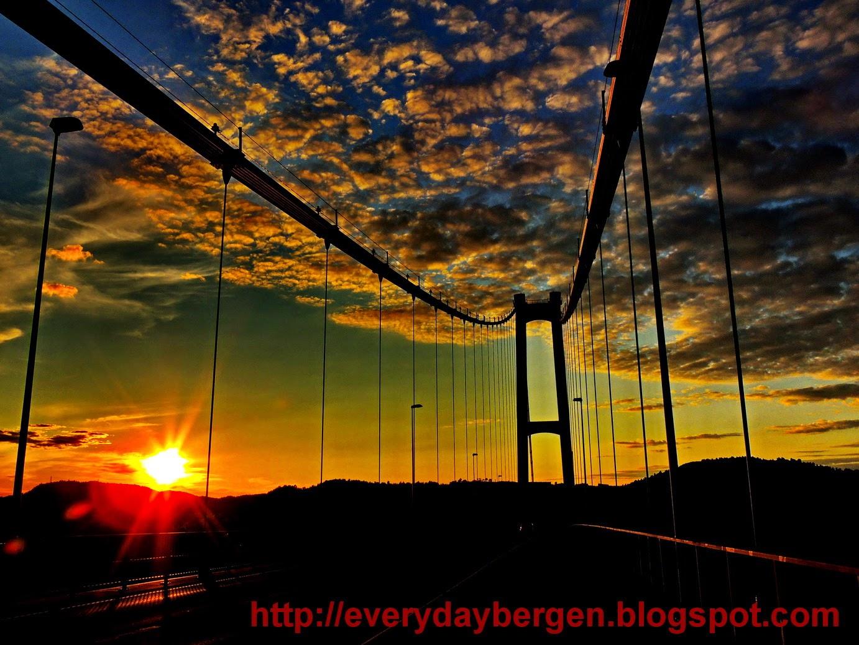 Sunset on Askøy bridge.