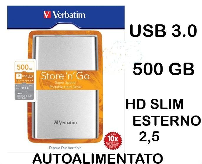 Hard disk esterno 500 gb 2 5 verbatim hdd autoalimentato for 500 esterno