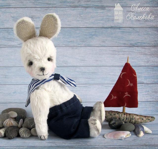 тедди, зайчик, зайчонок, море, морячок, ручная работа, авторская игрушка, миниатюрный тедди