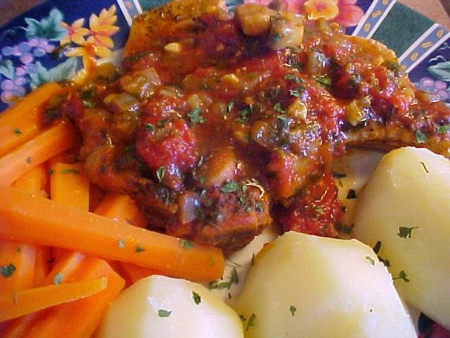 Côtelettes de porc sauce tomates à la Viviane