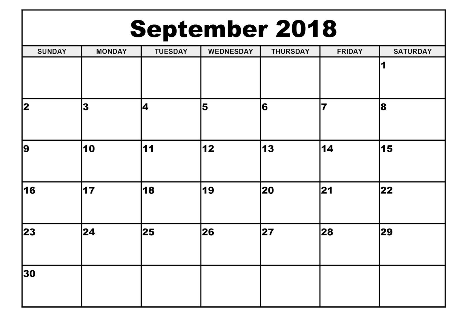 Free September 2018 Blank Calendar Printable Templates   Blank
