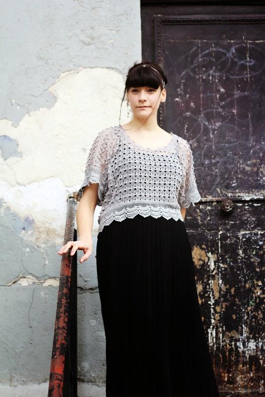 Next black chiffon skirt and Modcloth top