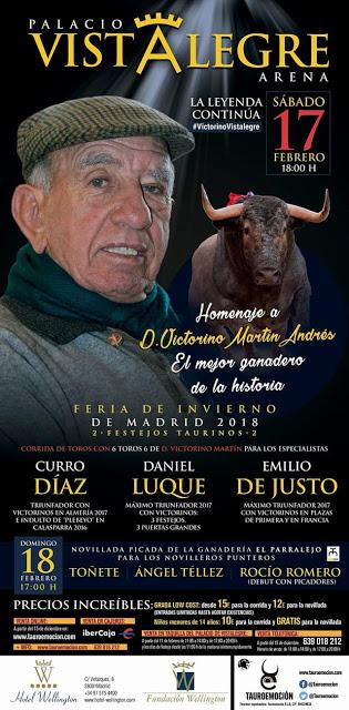 CARTEL:PALACIO VISTALEGRE (MADRID) HOMENAJE A D. VICTORINO MARTIN.