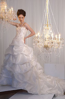 white strappless wedding dress