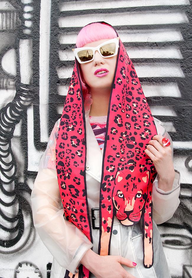 alexander wang sunglasses, cléo ferin mercury, pink leopard scarf