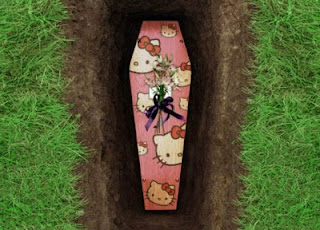 Hello Kitty weird pet grave coffin rip