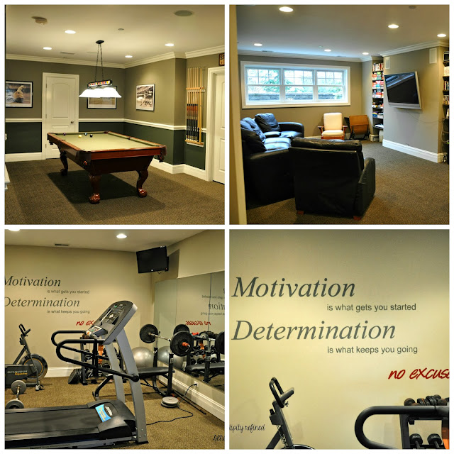 Finished basement with media room recreation room and exercise room