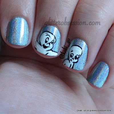 halloween nail art, ghost nail art, casper nail art