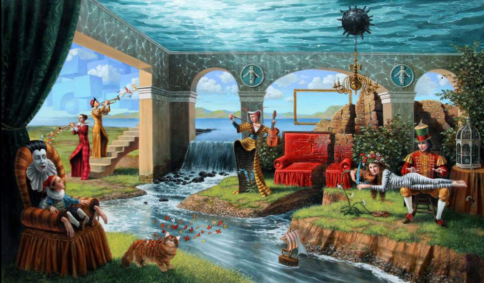 02-Michael-Cheval-Bombastic-Quintet-of-Eternal-Youth-Surreal-Absurdist-Paintings-www-designstack-co