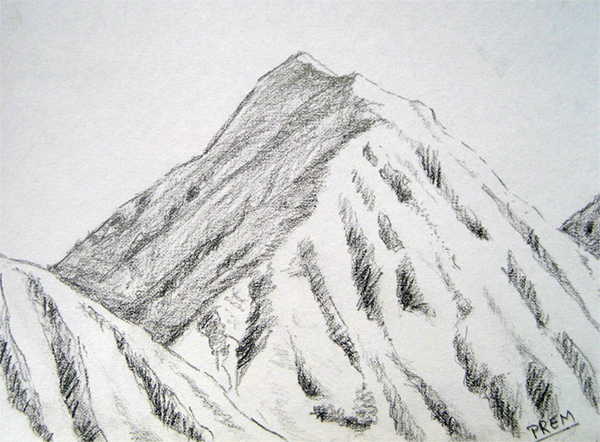 Easy Mountain Landscape Drawing Art by prem (•) com: simple sketches ...