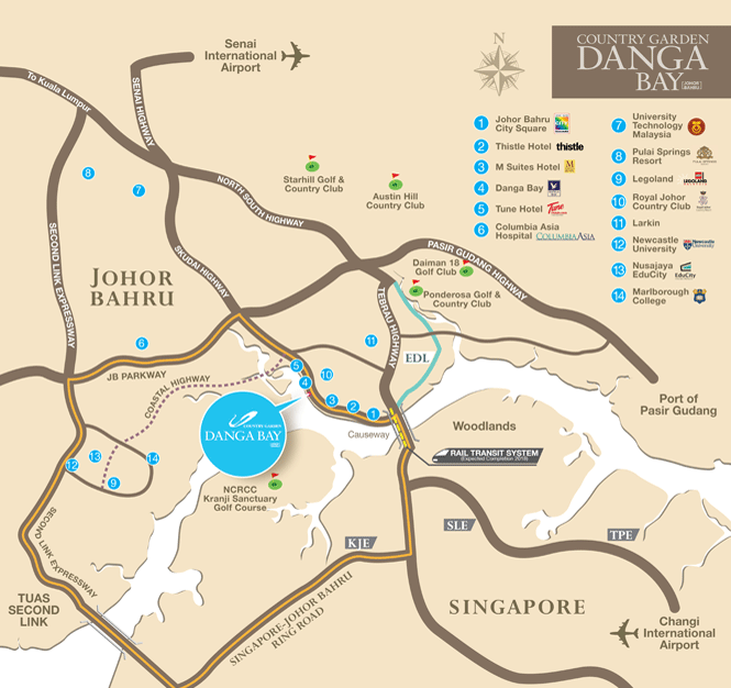 Country Garden Danga Bay condo 碧桂园,金海湾,马来西亚 Location