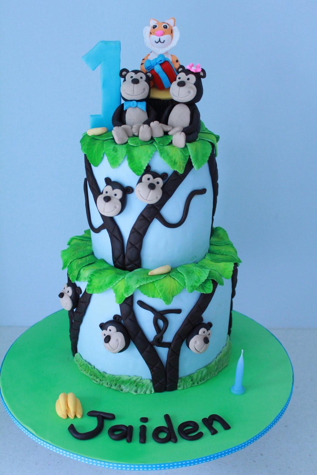 Blissfully Sweet Monkeys Tigers 1st Birthday Cake
