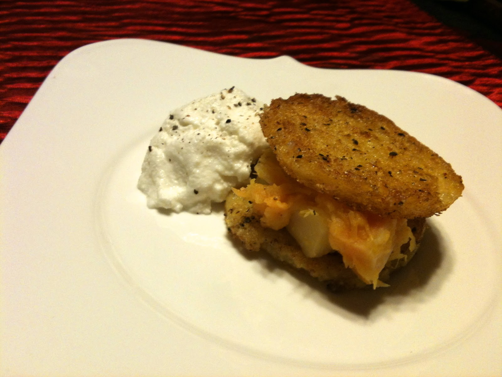 ... Fried Polenta Cakes with Butternut Squash and Turnip Puree and Ricotta
