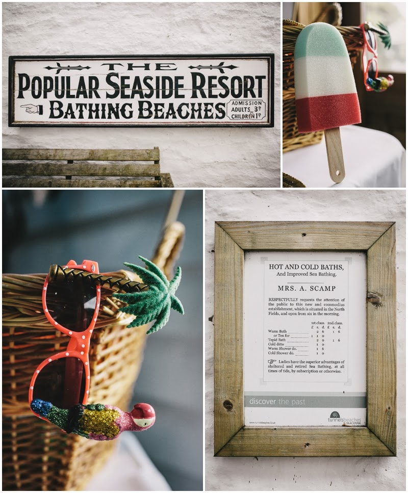 Sign posts for bathing beaches and seaside themed props