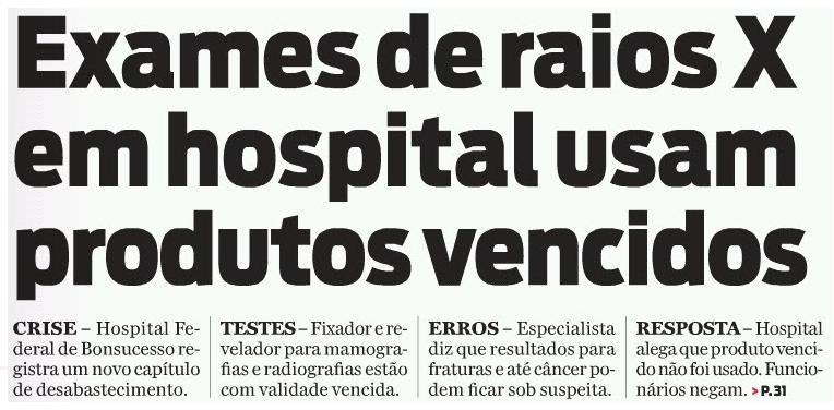 Exames de raios X em hospital usam produtos vencidos