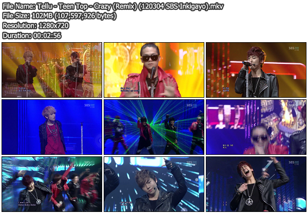 [Perf] Teen Top   Crazy (Remix) @ SBS Inkigayo 120304