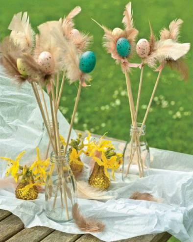 Easter crafts and gifts ideas: Display speckled eggs
