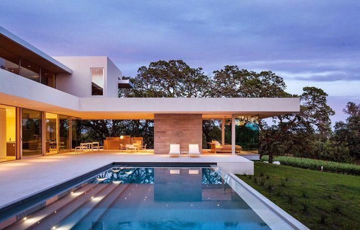 Casa moderna en un vi edo de california arquitexs - Casas modernas con piscina ...