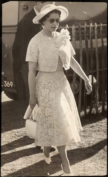Queen Elizabeth wearing vintage lace dress, 1959