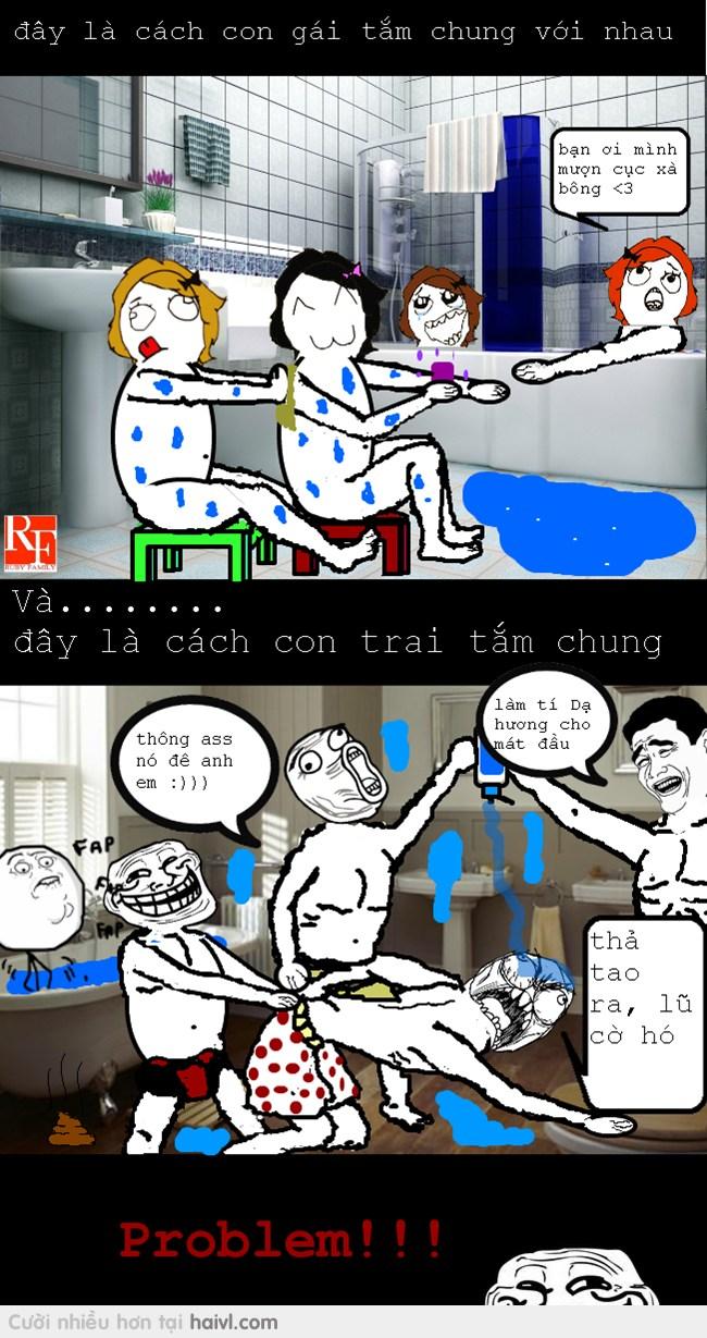 Ảnh hài chế về sự khác nhau giữa con trai và con gái khi tắm cùng nhau
