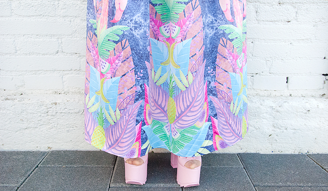 yru ballet bae, tropical prints, maxi skirt