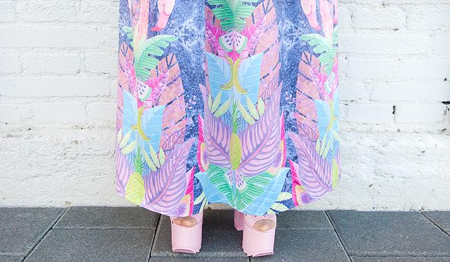 yru ballet bae, tropical prints, maxi skirt