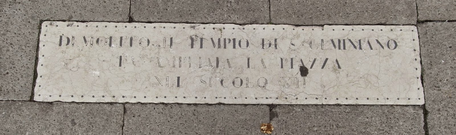 Plaque to the first church of San Geminiano, Piazza San Marco, Venice