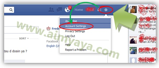 Gambar: Membuka Account Settings di facebook