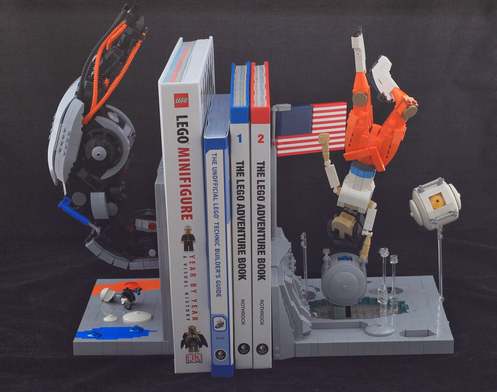 Geek art gallery lego creation portal bookends - Portal bookend ...