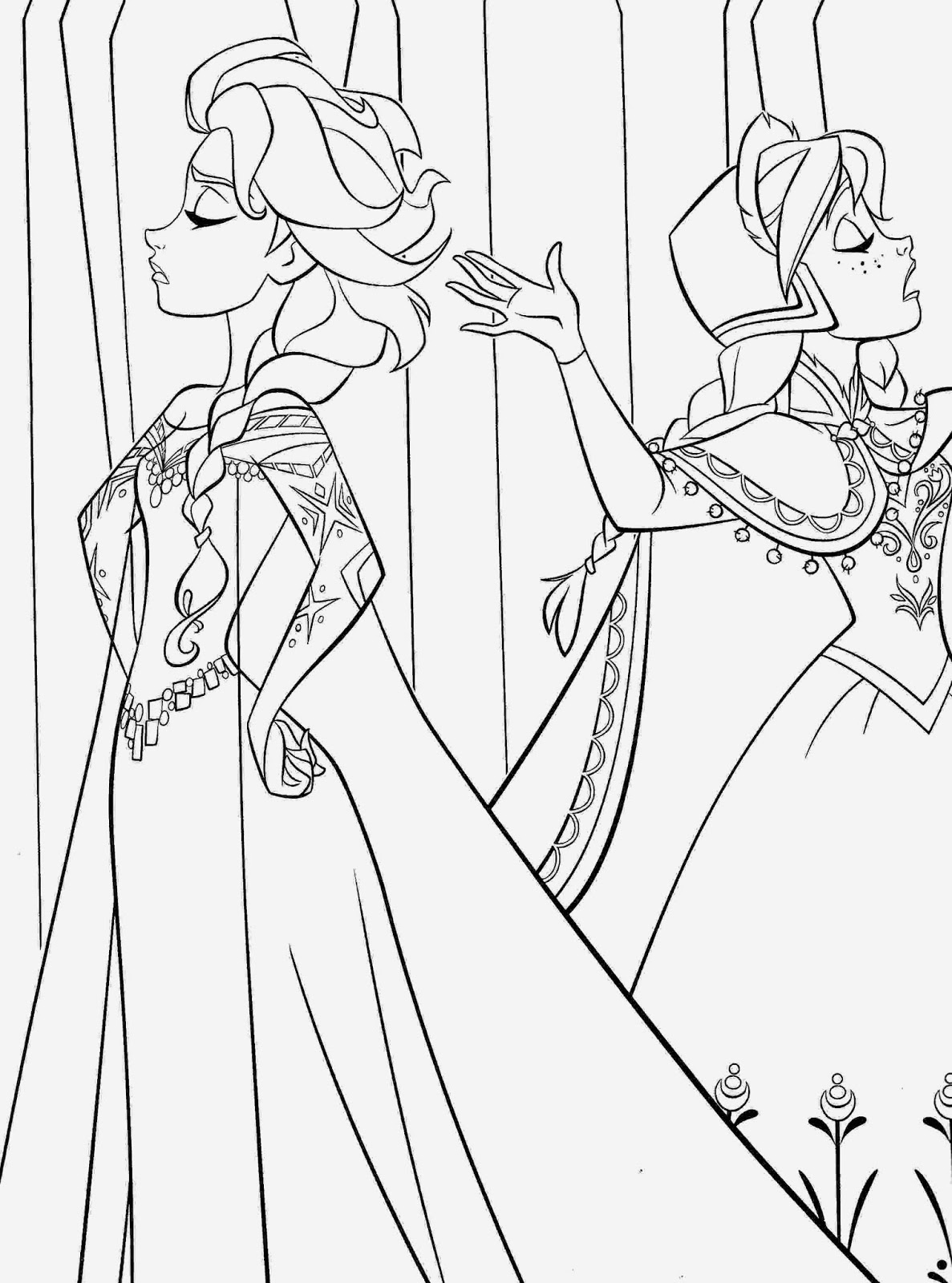 Princess Paper Doll Coloring Pages Elsa Anna Frozen
