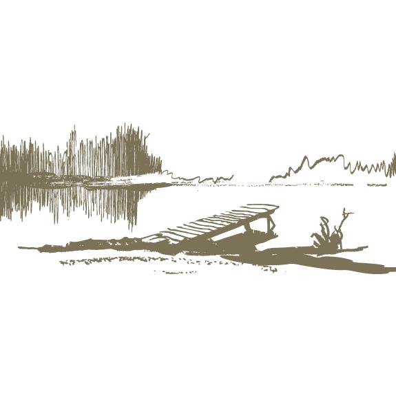 Boceto de lago y muelle - Vector