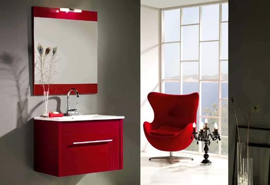 modern bathroom red shades