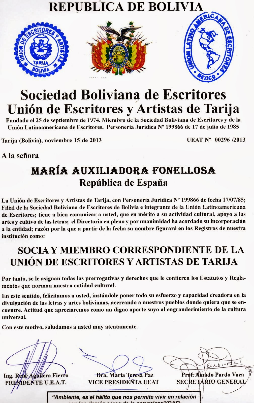 SOCIA DE LA UNIÓN DE ESCRITORES DE TARIJA (BOLIVIA)