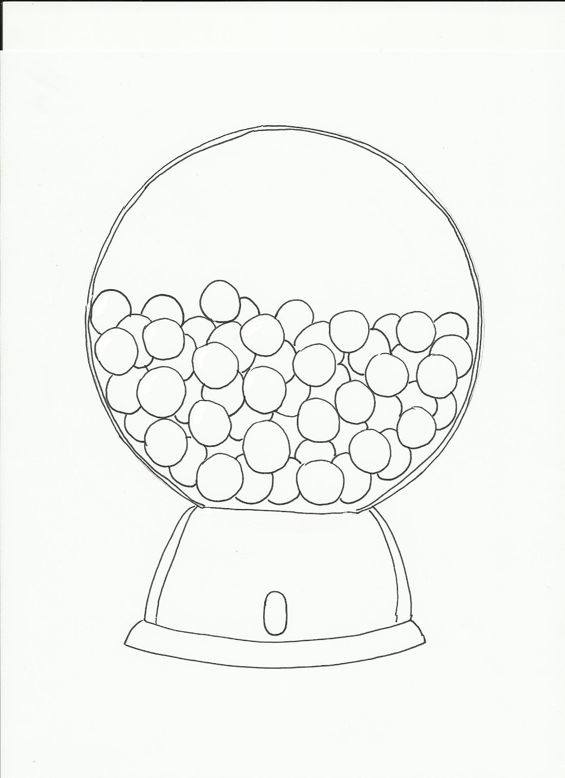 gumball machine coloring page - art class ideas gumball machines