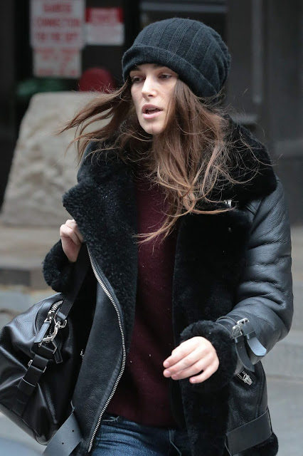 Actress, Model, @ Keira Knightley is seen in cosy leather jacket and jeans for return to Broadway