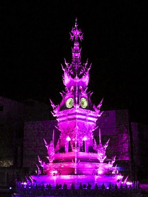 North Thailand - Chiang Rai's Golden Clock Tower during the night