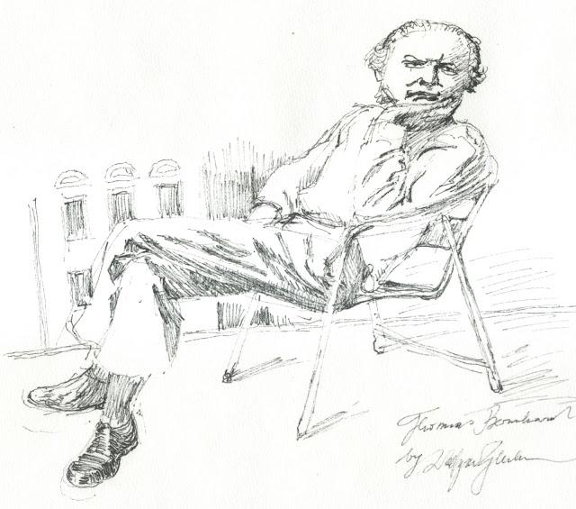 Thomas Bernhard, Federzeichnung, Zeichnung, Literatur, Österreich, Heldenplatz, Peymann