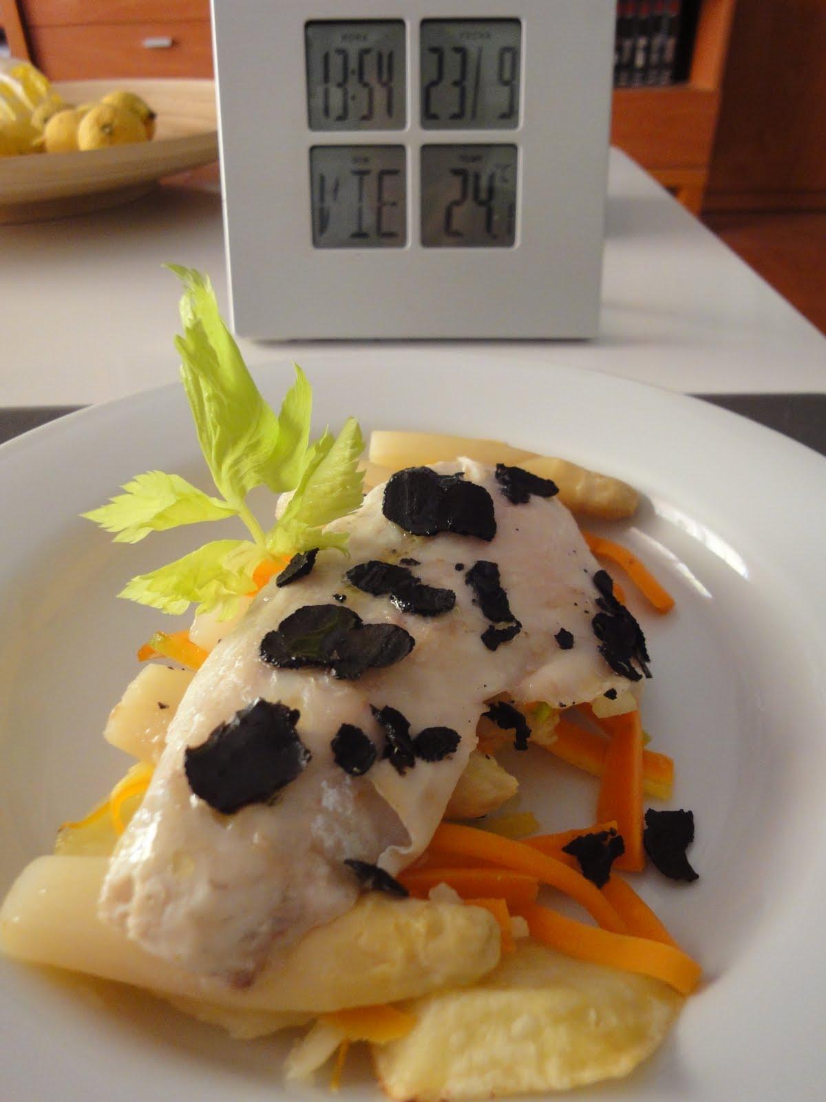 Clases de cocina zaragoza lubina en papillote con trufa - Cursos de cocina zaragoza ...