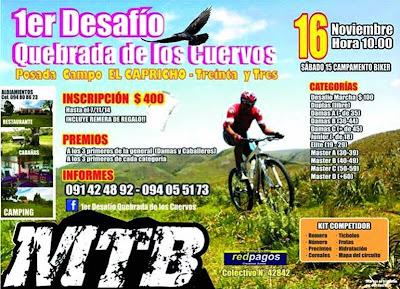 MTB - Primer desafío Quebrada de los cuervos (Treinta y tres, 15-16/nov/2014)