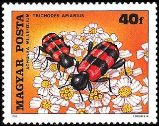 Estampilla húngara que representa dos escarabajos ajedrezados (Trichodes apiarius) sacando polen de la milhojas (Achillea millefolium)
